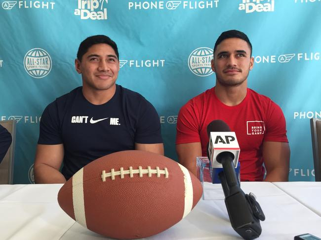 NRL Players Jason Taumalolo (left) and Valentine Holmes in Santa Monica after trialling in front of NFL scouts.