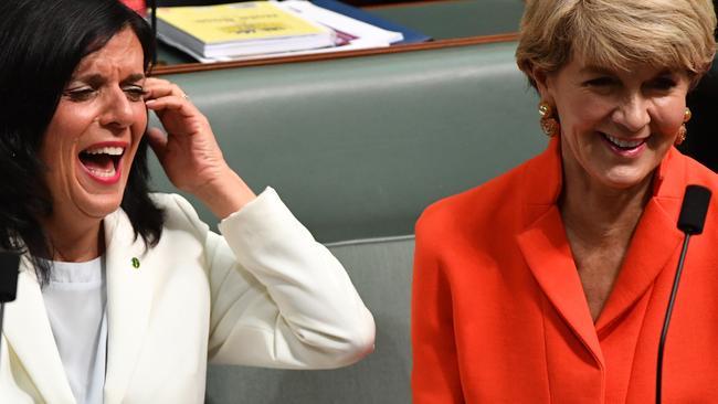 Liberal member for Chisholm Julia Banks and former Liberal deputy leader Julie Bishop. Pic: AAP