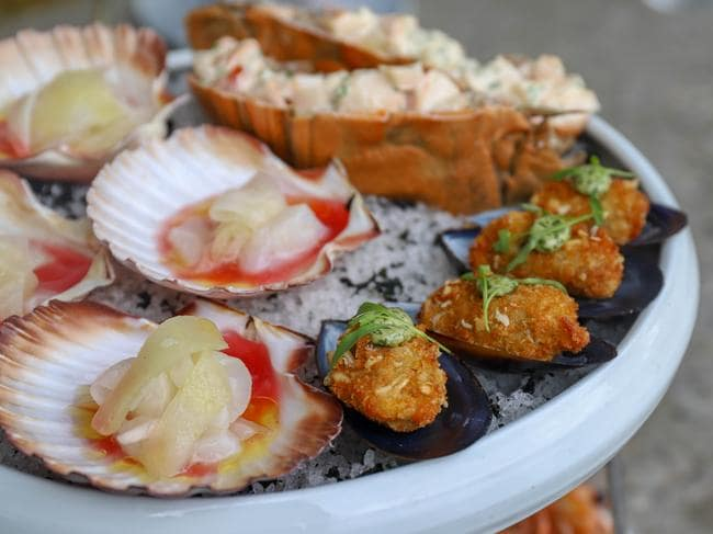 The Cirrus seafood platter with scallop ceviche, crumbed mussels and Moreton Bay bugs. Picture: Jenifer Jagielski