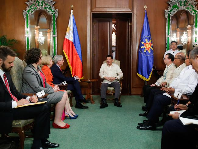 President Rodrigo Roa Duterte discusses matters with Australian Secret Intelligence Service Director General Nicolas Peter 'Nick' Warner who paid a courtesy call on the President at the Malaca — an Palace on August 22, 2017.