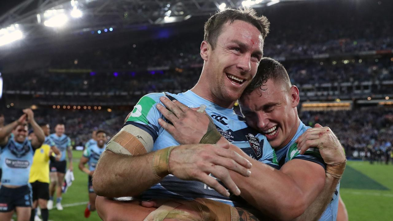 James Maloney is mobbed by Jack Wighton