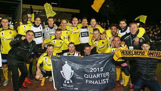 Heidelberg United players celebrate.