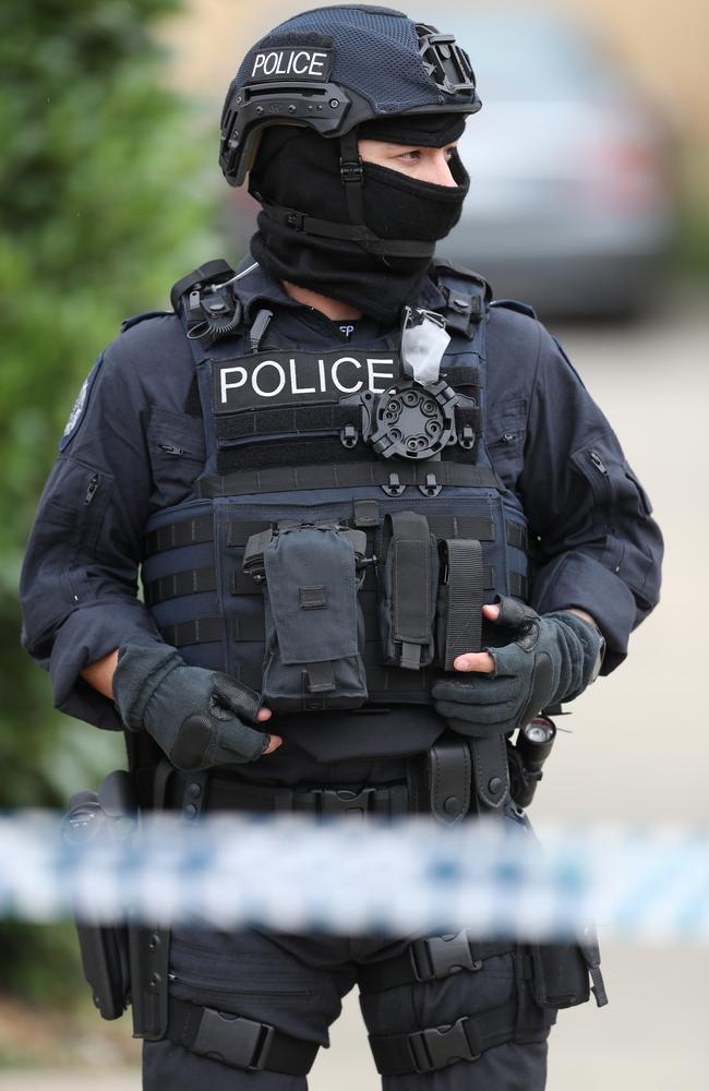 Police were seen outside one of the houses today. Picture: David Crosling