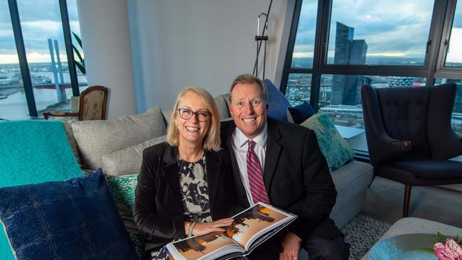 Lord Mayor Sally Capp's new city apartment in the Docklands. Sally with her Husband, Andrew Sutherland. Picture Jay Town