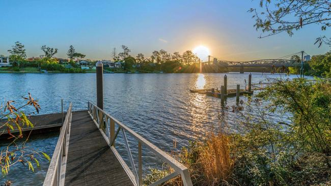 The private pontoon at the property at 29 Neulans Rd, Indooroopilly.