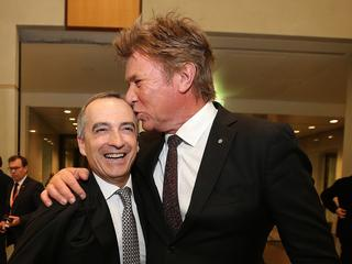 Virgin CEO John Borghetti and Richard Wilkins at the Bishop drinks. Picture: Kym Smith
