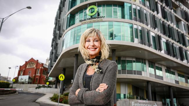 Olivia Newton-John outside the ONJ Cancer Wellness and Research Centre in Heidelberg. Picture: Nicole Cleary