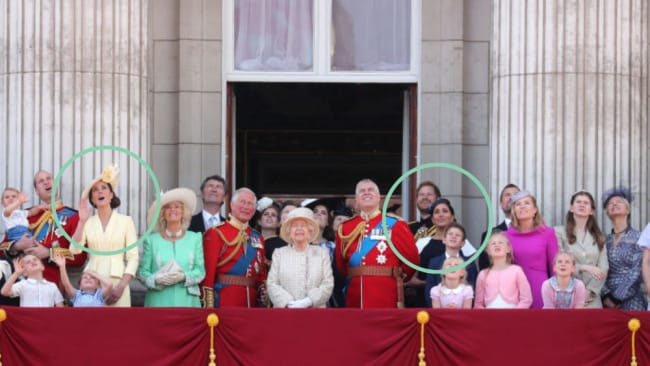 The two duchesses were placed on opposite sides of the Queen. Source: Getty Images