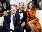 CEO of Sony Music Entertainment Rob Stringer,John Legend and Chrissy Teigen attend the Sony Music Entertainment 2017 Post-Grammy Reception at Hotel Bel-Air on February 12, 2017 in Los Angeles, California. Picture: Getty