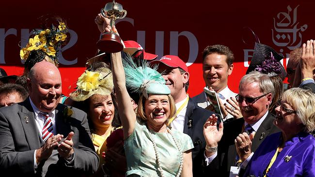 Gai Waterhouse celebrates her first Melbourne Cup victory. Picture: Ian Currie