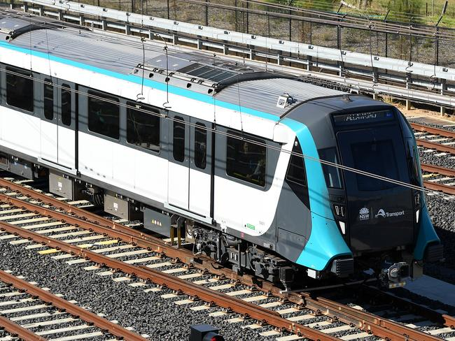 A North West Metro train seen approaching Tallawong Station in Sydney. Picture: AAP/Joel Carrett