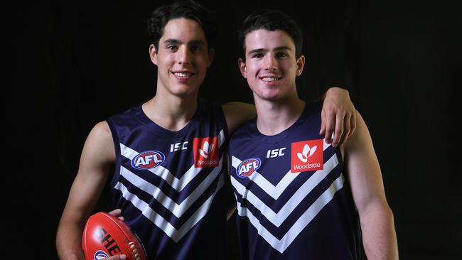 Adam Cerra (L) and Andrew Brayshaw (R) in Fremantle colours.