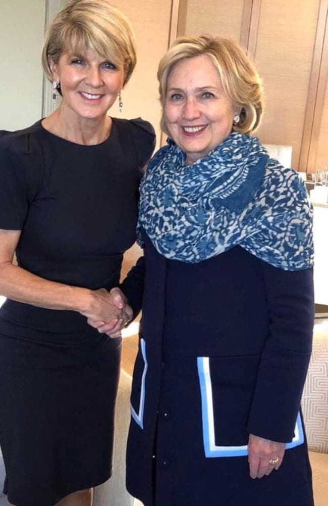 Julie Bishop after meeting Hillary Clinton in Sydney yesterday in May this year. Picture: Twitter.