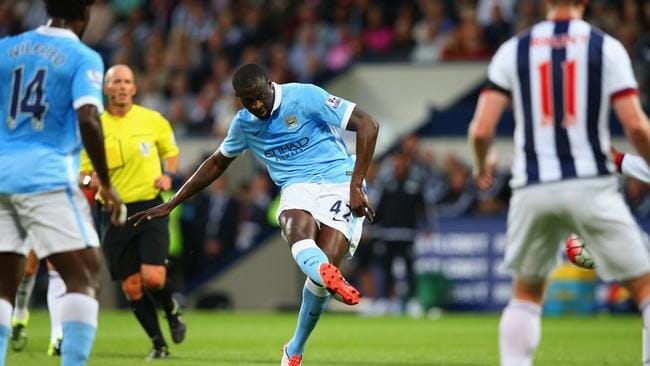 Toure finds the back of the net from long range.