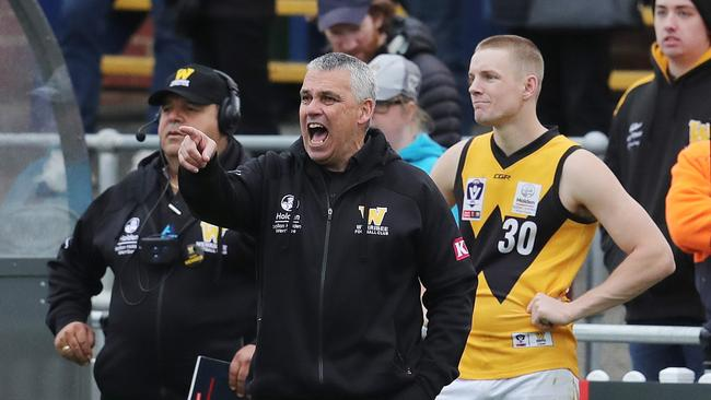 Mark Williams screams from the bench late while coaching Werribee in the VFL. Picture: Michael Klein.