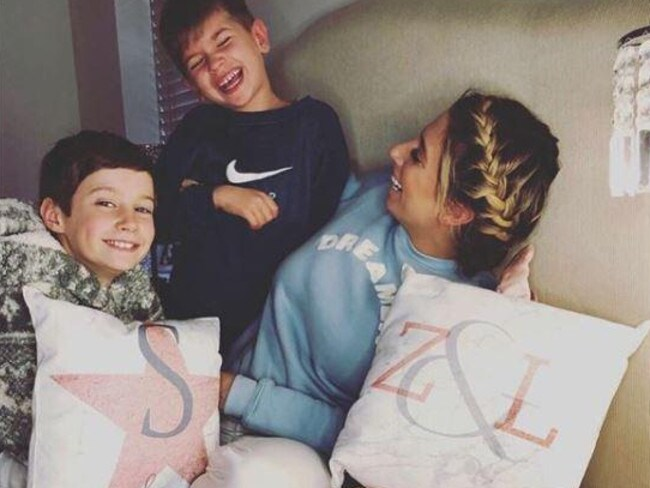 Stacey Solomon and her sons are enjoying homeschooling. Picture: Instagram