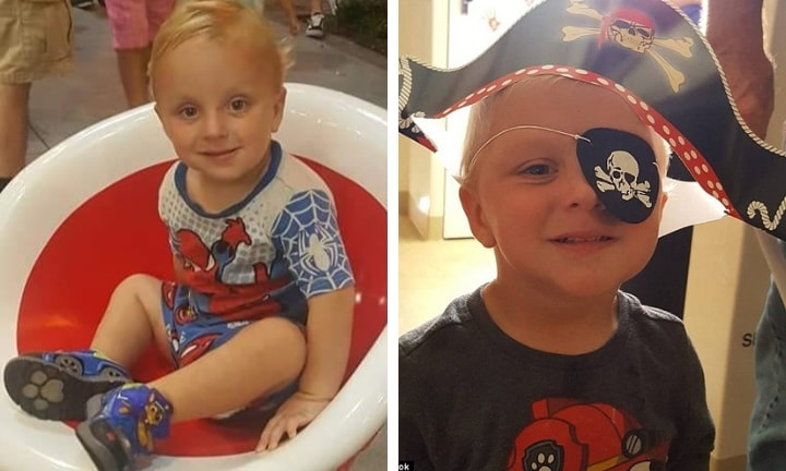 The adorable little boy sadly died at a nearby hospital. Image: GoFundMe (left) and Facebook (right)