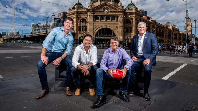 Fox Footy's new  <i>On The Couch</i> panel: Jonathan Brown, Garry Lyon, Paul Roos and Gerard Healy. Picture: Tim Carrafa