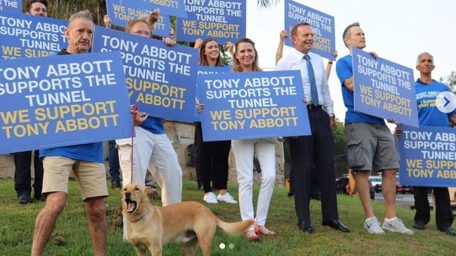 Tony Abbott campaigning with a VERY GOOD BOY.