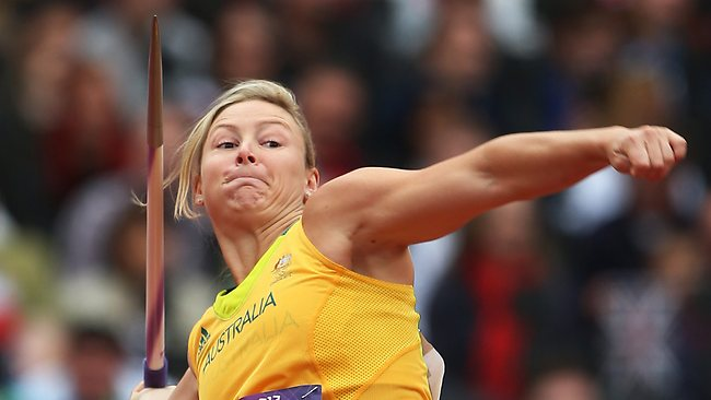 Australia's Kimberley Mickle competes in the Women's Javelin Qualification. Picture: Phil Hillyard