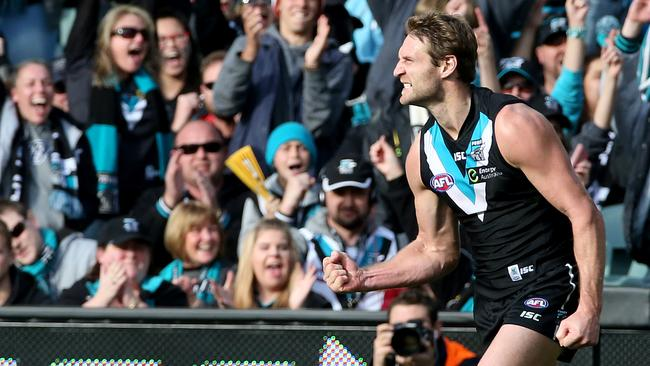 Jay Schulz has had Port Adelaide fans smiling all year. Picture: Simon Cross