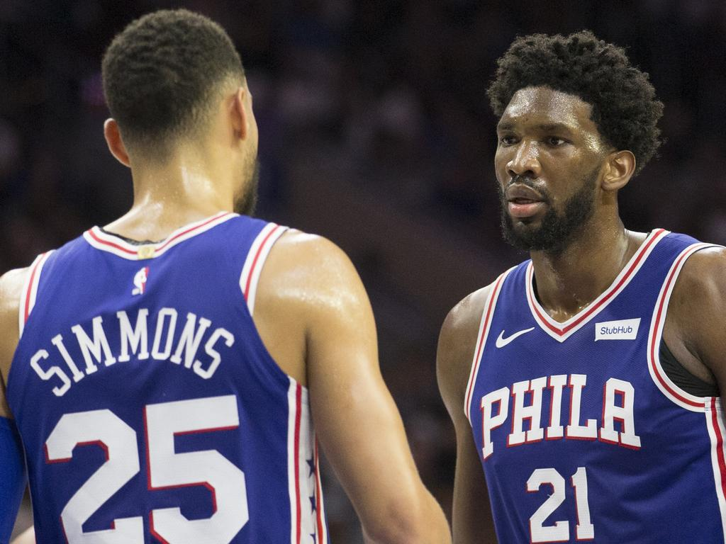 PHILADELPHIA, PA - OCTOBER 18: Ben Simmons #25 and Joel Embiid #21 of the Philadelphia 76ers in action against the Chicago Bulls at the Wells Fargo Center on October 18, 2018 in Philadelphia, Pennsylvania. NOTE TO USER: User expressly acknowledges and agrees that, by downloading and or using this photograph, User is consenting to the terms and conditions of the Getty Images License Agreement. (Photo by Mitchell Leff/Getty Images)