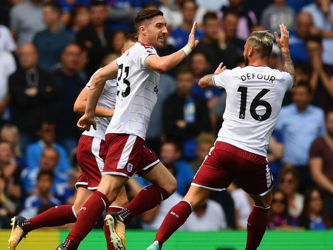 Stephen Ward of Burnley celebrates scoring his side's second.