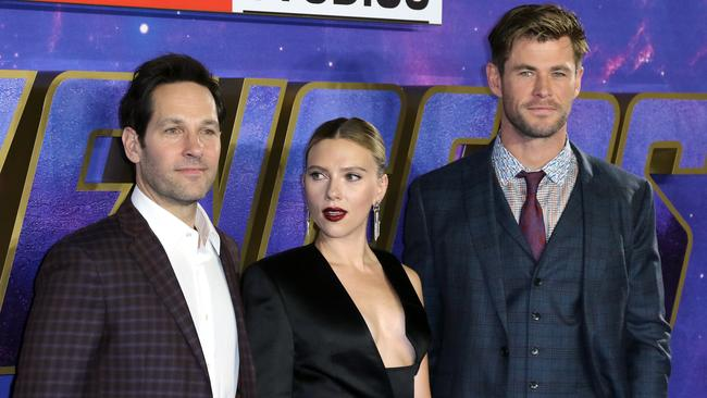 Avengers stars (L-R) Paul Rudd, Scarlett Johansson and Chris Hemsworth. Picture: Matrix