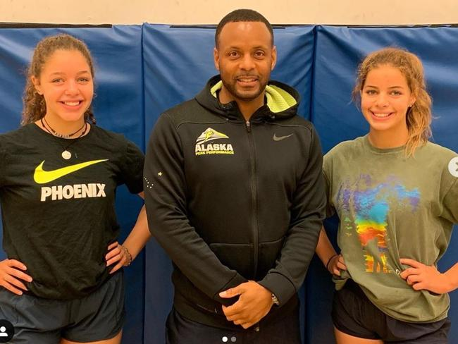 Performance coach DeWayne Ingram with sisters Breckynn Willis and Dreamer Kowatch