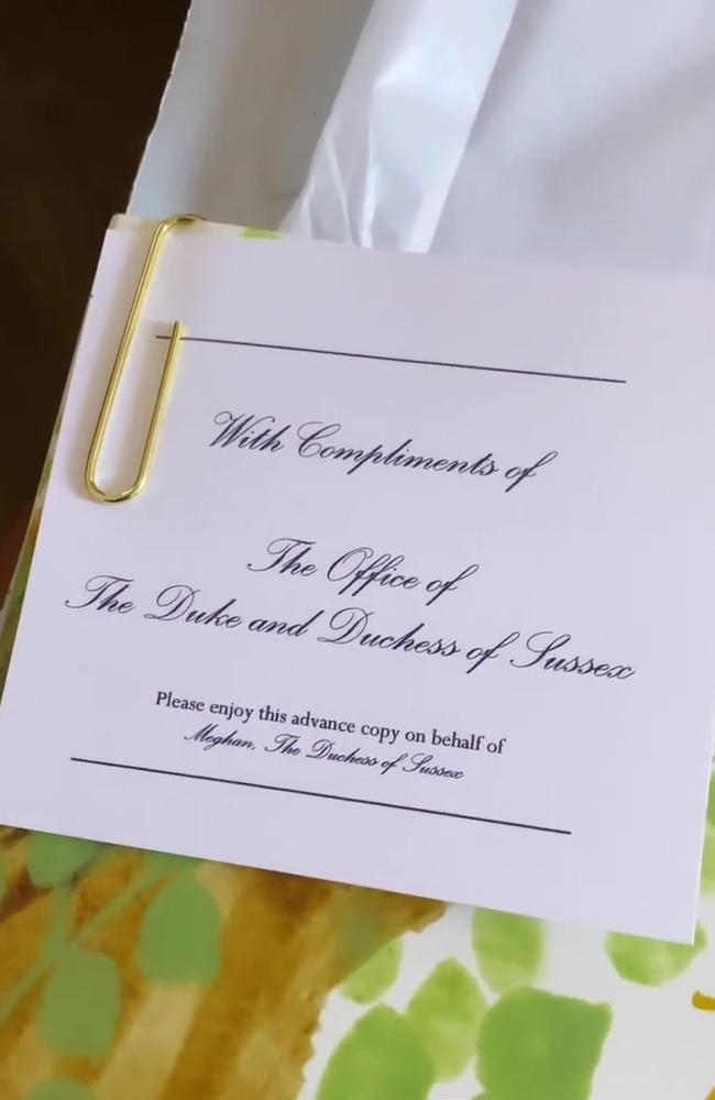 Meghan signed the note as 'the Office of the Duke and Duchess of Sussex.' Picture: Instagram.