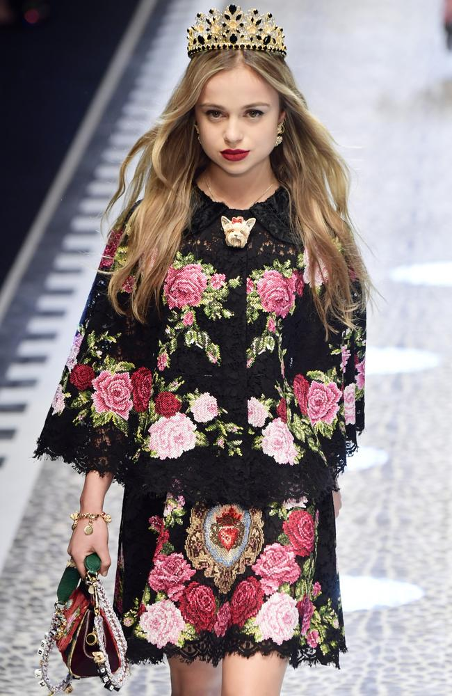 Lady Amelia Windsor walks the runway at the Dolce & Gabbana show during Milan Fashion Week in 2017. Picture: Victor Boyko/Getty Images.