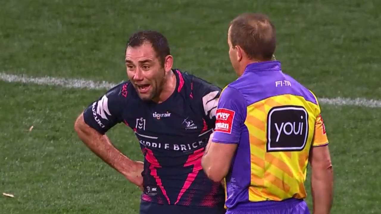 "Cameron Smith was penalised for ""rubbish on the face""."