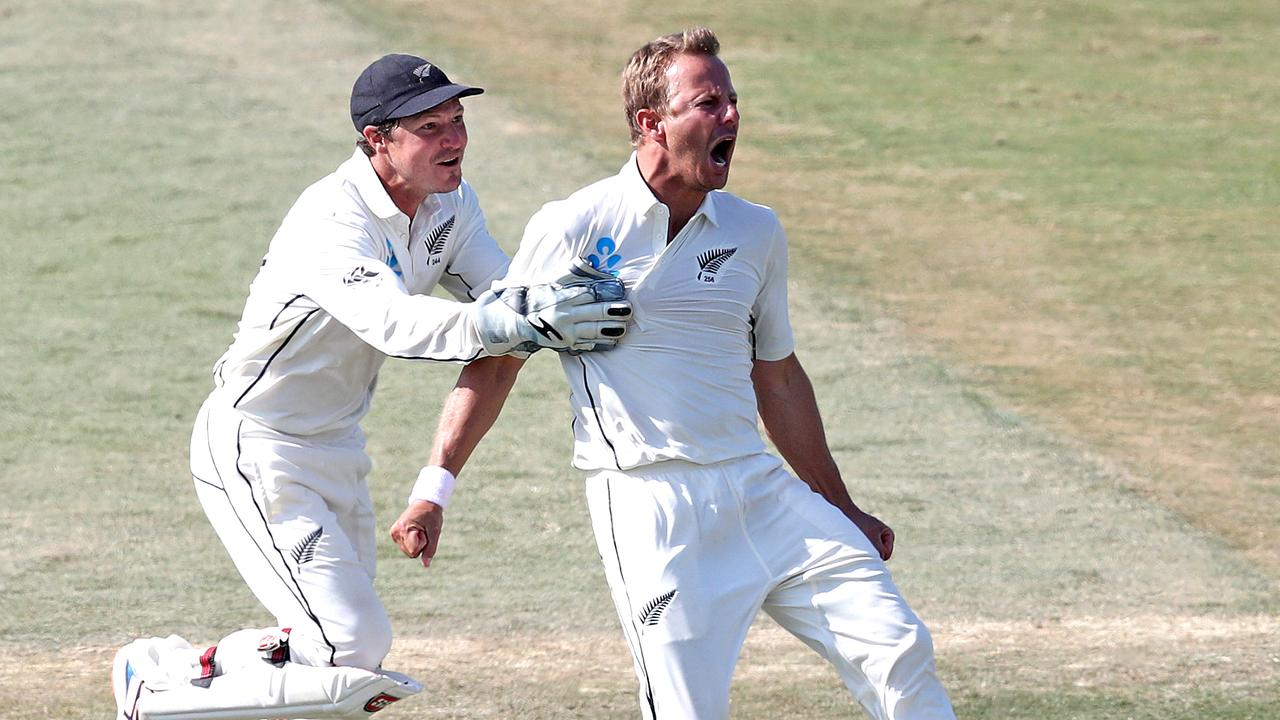 Neil Wagner celebrates with BJ Watling in New Zealand's big win over England.