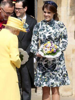 Princess Eugenie has a shorter version of the dress. She wore it to a recent event with the Queen. Picture: Chris Jackson/Getty Images