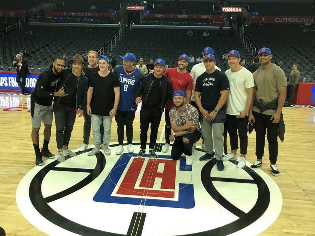 The Roosters at an LA Clippers game during last year's visit.