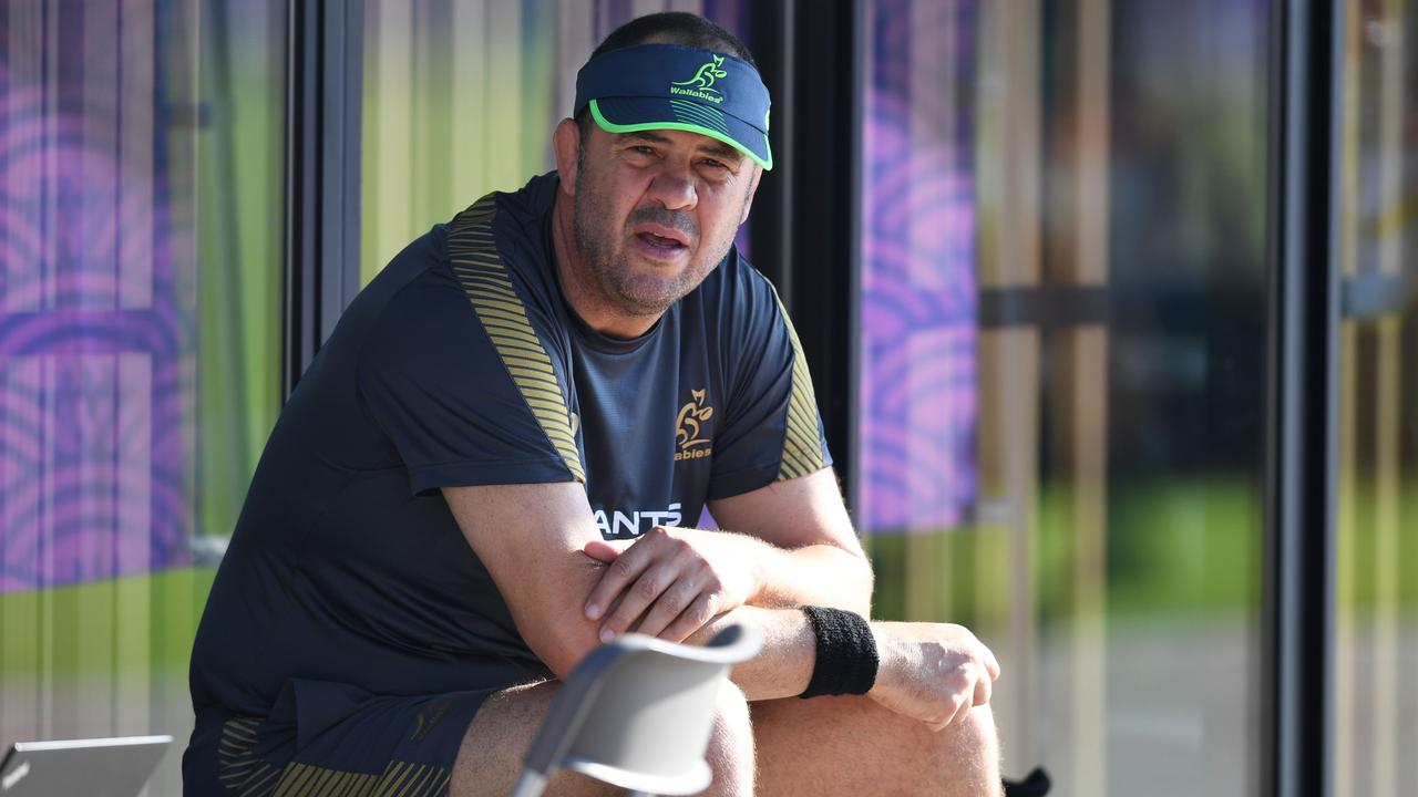 Australia coach Michael Cheika takes part in a training session.