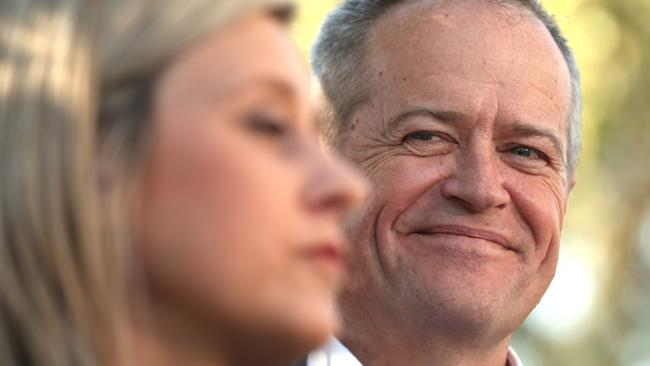 26/7/2018: A relieved and happy Opposition Leader Bill Shorten with Susan Lamb, the victorious candidate for Longman. Picture: Lyndon Mechielsen/The Australian