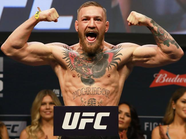 Conor McGregor during UFC 205 weigh-ins at Madison Square Garden.