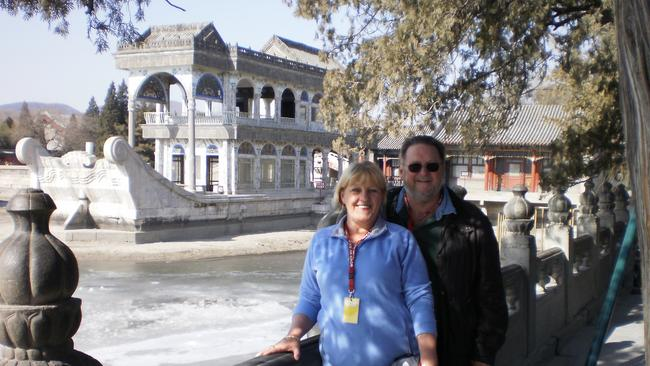 Christine McCormack and her partner Ron in China. Picture: Supplied