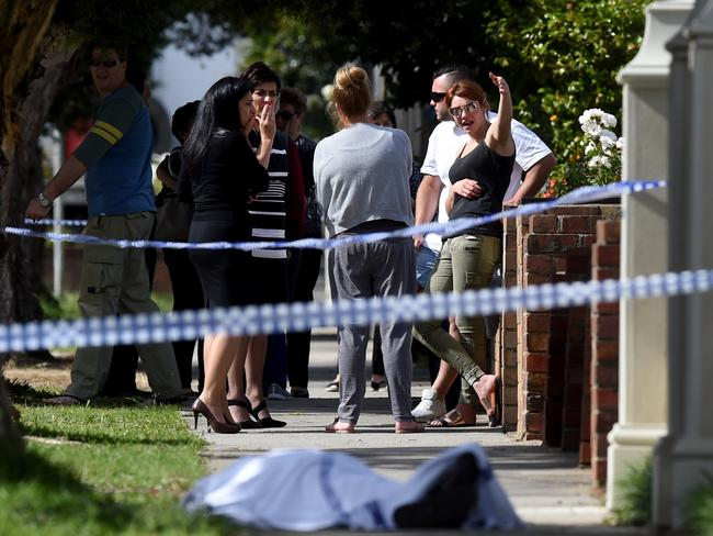 Body found on the footpath of Joffre Street in the Melbourne suburb of Reservoir. Picture: Kylie Else