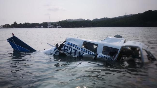 The light plane crashed into the sea at the Isla Bonita area in Roatán, Honduras. Picture: AFP.