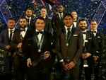 Team of the year (L-R) Joseph Leilua, James Tedesco, Jesse Bromwich, James Maloney, top try scocer Suliasi Vunivalu, top point scorer Jarrod Croker, Josh Mansour, Cameron Smith with Dally M winners Cooper Cronk and Jason Taumalolo at the Dally M awards night at The Star, Pyrmont. Picture: Gregg Porteous