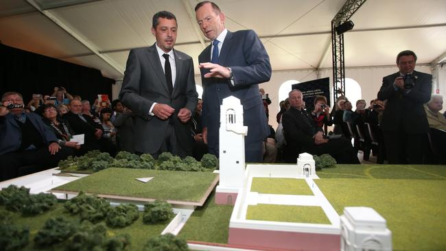 Prime Minister Tony Abbott at the unveiling of the Sir John Monash Centre Design at the Australian National Memorial, Villers-Bretoneux. Picture: Brad Hunter / Office of the Prime Minister
