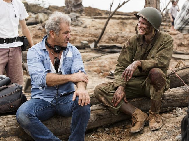 Mel Gibson and Andrew Garfield shooting Hacksaw Ridge together.