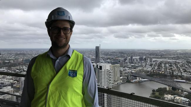 Hutchinson Builders project manager Lynden Watson on floor 82 of Brisbane's tallest residential tower - Skytower at 222 Margaret St.