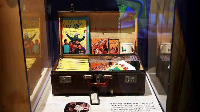 The exhibition features Wiggle Jeff's old suitcase from school, which he used to sell Wiggles merchandise out of. Picture: Nic Gibson
