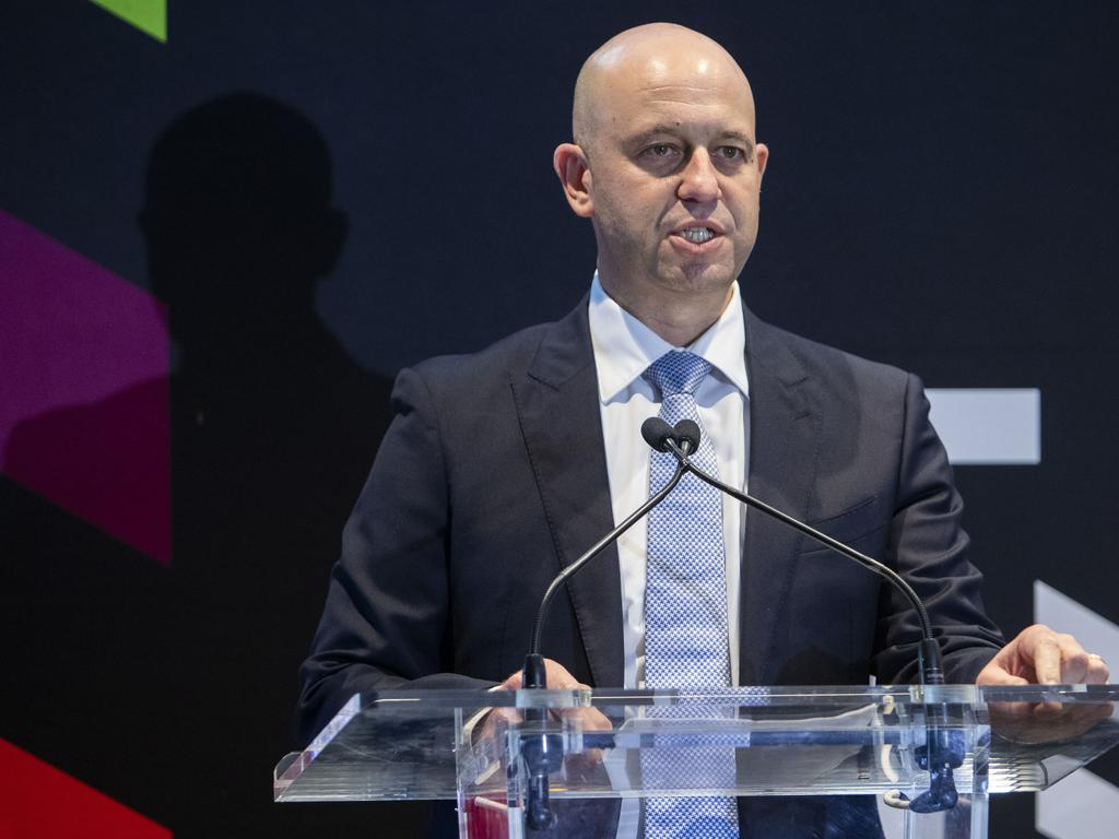 NRL Chief Executive Officer Todd Greenberg speaks during the Magic Round 2020 launch at The Fantauzzo Hotel in Brisbane, Tuesday, November 12, 2019. (AAP Image/Glenn Hunt) NO ARCHIVING