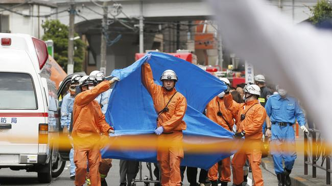 Paramedics have closed down the street. Picture: Kyodo News via AP