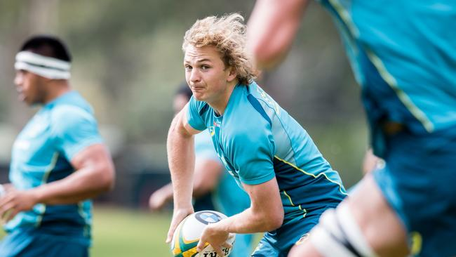 Halfback Joe Powell trains with the Wallabies in Perth.