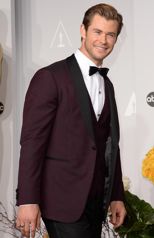 Chris Hemsworth poses in the press room during the 2014 Oscars. Picture: Jason Merritt/Getty Images